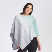 Graduated Stripe Supersoft Merino Poncho Seafoam